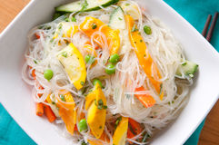 Healthy and refreshing mango and noodle summer salad Stock Image
