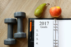 Healthy resolutions for the New Year 2017. Royalty Free Stock Photography