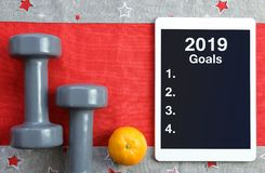 Healthy resolutions for the New Year 2019. stock photo