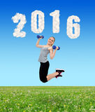 Healthy resolutions for the New Year 2016. Stock Photos