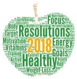Healthy resolutions 2018. Word cloud Stock Photography