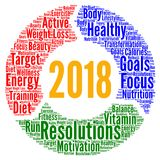 Healthy resolutions 2018 word cloud. Illustration Royalty Free Stock Image