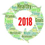 Healthy resolutions 2018 word cloud. Illustration Stock Photos