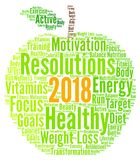 Healthy resolutions 2018 word cloud. Illustration Stock Image