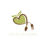 Healthy restaurant concept with heart spoon Royalty Free Stock Photos