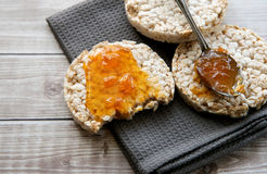 Healthy rice cake with bio jam close up Stock Image