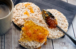 Healthy rice cake with bio jam close up Royalty Free Stock Photos