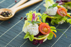 Healthy Rice Canape with Protein Cheese and Cherry Tomato Royalty Free Stock Image