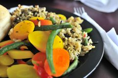 Healthy rice and vegetable set Stock Images