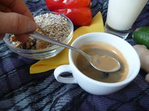 Healthy rich breakfast with granola milk and coffee Royalty Free Stock Photos