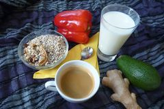 Healthy rich breakfast with granola milk and coffee Royalty Free Stock Photography