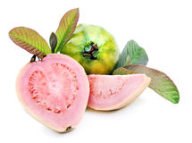 Healthy ripe fresh guavas on white background Stock Photos