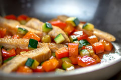 Healthy Roasted Chicken and Veggies Stock Photos