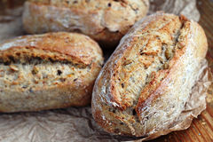 Healthy rolls. Close up of healthy wholegrain crispy bread Royalty Free Stock Photography