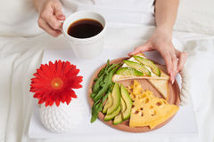 Healthy romantic breakfast with red flower for lover Royalty Free Stock Photo