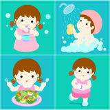 Daily healthy routine for girl cartoon  Royalty Free Stock Photography