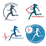 Healthy Run Emblem and Logo Set. Running young woman. Healthy heartbeat sign. Sport and activity. Only free font used. Isolated on white background Stock Photos