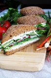 Healthy rye bread sandwich cut in half Royalty Free Stock Photo
