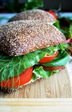 Healthy rye bread sandwich with tomato Stock Image