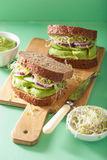 Healthy rye sandwich with avocado cucumber alfalfa sprouts Royalty Free Stock Image