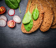 Healthy rye sandwich ingredients, top view Royalty Free Stock Photography