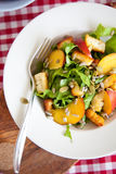 Healthy salad. Delicious salad with endive, haloumi and nectarines Stock Image