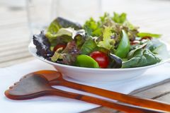 Healthy salad. Closeup on outdoor table setting Royalty Free Stock Photos