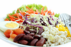 Healthy salad. Variety of salads and cereals stock images