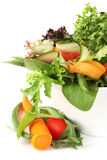 Healthy Salad. With mixed greens, carrots, cucumber, green beans, tomatoes, red pepper Stock Photos