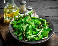 Healthy salad. Arugula salad in a bowl. On a black rustic background royalty free stock image