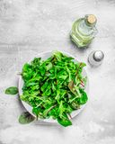 Healthy salad. Arugula salad in a bowl. On a rustic background stock photos