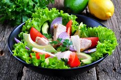 Healthy salad of avocado, tomatoes, canned tuna, onions and lettuce with parmesan, parsley and olive oil Royalty Free Stock Photos