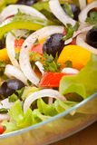 Healthy salad with black olives Royalty Free Stock Photography