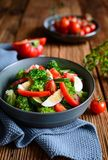 Healthy salad with broccoli, eggs, zucchini, tomato and bell pepper royalty free stock photos