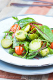 Healthy salad with brussels sprouts cabbage , tomatoes, salad Royalty Free Stock Image