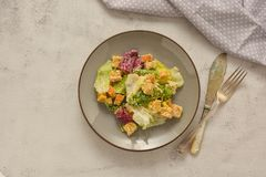 Healthy salad, caesar salad with croutons and dressing. Healthy foods. Healthy salad, caesar salad with croutons and dressing. Healthy food, dinner, bright stock photography