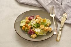 Healthy salad, caesar salad with croutons and dressing. Healthy foods. Healthy salad, caesar salad with croutons and dressing. Healthy food, dinner, bright royalty free stock photos