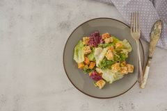 Healthy salad, caesar salad with croutons and dressing. Healthy foods. Copy space. Healthy salad, caesar salad with croutons and dressing. Healthy food, dinner stock photography