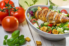 Healthy salad with chicken and tomato royalty free stock photo