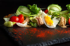 Salad of chicken eggs and tomato-3 Royalty Free Stock Photography