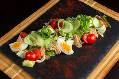 Salad of chicken eggs and tomato-5 Royalty Free Stock Photography