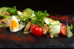 Salad of chicken eggs and tomato-4 Royalty Free Stock Image
