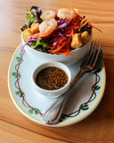 Healthy salad with cooked shrimp. Royalty Free Stock Photo
