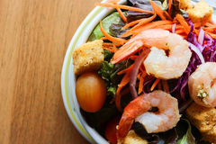 healthy salad with cooked shrimp Stock Image