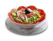 Healthy salad with crabmeat and vegetables Royalty Free Stock Photo
