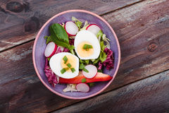 Healthy salad with eggs and vegetables Royalty Free Stock Photo
