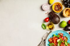 Healthy salad and ingredients stock photography