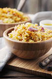 Healthy salad with lentil, vegetable and ham Royalty Free Stock Photo