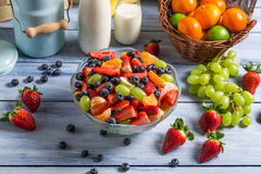 Healthy salad made ​​of fresh fruits Stock Images