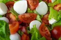 Healthy salad of mozzarella, iceberg lettuce and fresh juicy cherry tomatoes, top view, menu option stock photography